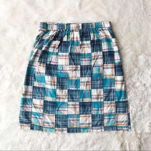 Orvis blue, green madras plaid midi skirt size L